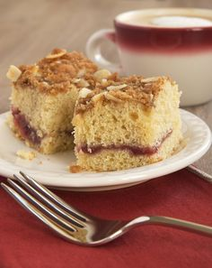 A ribbon of sweet fruit ribbons through this Jam-Swirled Coffee Cake. Great for breakfast, brunch, or a coffee break!