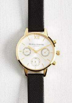 Wrist Opportunity Watch in Black & Gold - Midi. Looking for the best way to sport this gold watch by Olivia Burton? #black #modcloth
