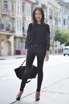 Coated skinny jeans – thanks to 7 For All Mankind  ,Top – ASOS , Heels – Prada, Purse – Celine Bracelet – Tory Burch