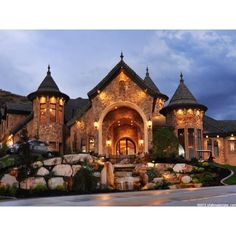 Car Collector's Dream Home with 25 Car Garage ❤ liked on Polyvore featuring backgrounds, house and pictures