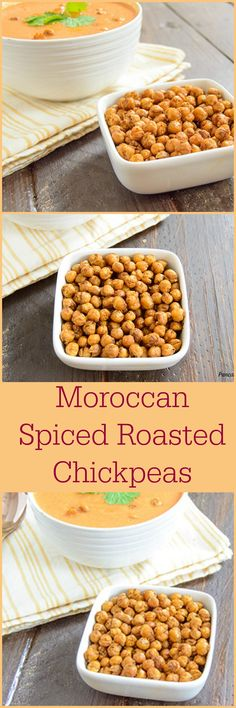 Moroccan Spiced Roasted Chickpeas - easy, crunchy low fat snack you can make anytime! You will never snack the same again - low fat, gluten free, vegan (Vegan Dip Chickpeas) Savory Snacks, Vegan Snacks, Healthy Snacks, Appetizer Recipes, Snack Recipes, Cooking Recipes, Appetizers, Free Recipes, Low Fat Snacks