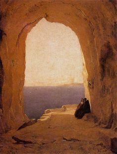 Carl Blechen Grotto in the Gulf of Naples hand painted oil painting reproduction on canvas by artist Naples, Artist Painting, Painting & Drawing, Carl Blechen, Stürmische See, Hans Thoma, A4 Poster, Poster Prints, Expressionist Artists
