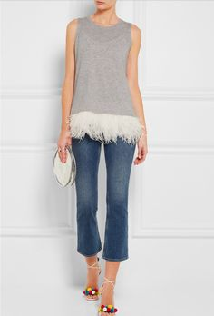 Sleeveless grey shirt with ostrich feathers