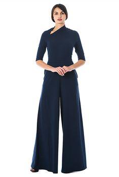 Asymmetric neck cotton knit jumpsuit-CL0056364