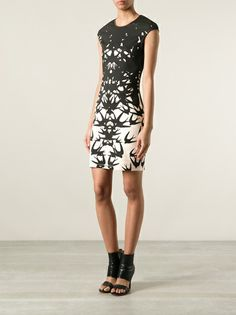 MCQ BY ALEXANDER MCQUEEN - swallow print cap sleeve dress 7