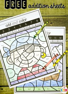Free color by code addition sheets! Fun math center and addition game.