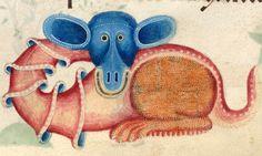 happy dragon Luttrell Psalter, England ca. 1325-1340. British Library, Add 42130, fol. 196r