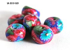 Red and Blue Flower Rondelle Purple Beads Jewelry Making Bead Supplies | #bluemorningexpressions - Jewelry Supplies on Ar @Julie Forrest Cleveland