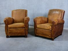 Pair of french 1920 Leather Club Chairs Wingback Chair, Armchair, Leather Club Chairs, Vintage Antiques, Accent Chairs, Pairs, French, Furniture, Things To Sell