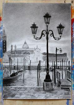 venice_graphic_pencil - Home Pencil Sketches Landscape, Pencil Sketch Drawing, Realistic Pencil Drawings, Art Drawings Sketches Simple, Landscape Drawings, Pencil Art Drawings, Landscape Paintings, Pencil Sketches Architecture, Colour Pencil Drawing