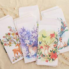 JIANWU 12 stücke Reizenden rotwild Chinesischen stil 5 papierumschlag tasche karte postkarte hülle tasche schreibwaren