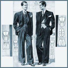 vintage suits for men from the Mode Vintage, Vintage Men, Vintage Prom, Trajes Zoot, 1930s Fashion, Mens Fashion, Formal Fashion, Fashion 2015, Suit Fashion