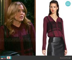 Theresa's purple blouse with black lace panels on Days of our Lives.  Outfit Details: https://wornontv.net/61881/ #DaysofourLives