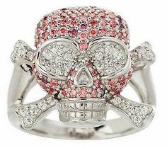 David English Diamonique Legacy Skull and Crossbones Sterling Ring