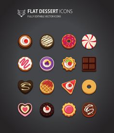 This is flat style Dessert Icons Set. it is cute and simple design.