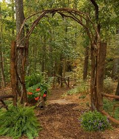 This award winning outdoor space was created by recycling fallen trees, recycled. This award winning outdoor space was created by recycling fallen trees, recycled concrete well cove Forest Garden, Woodland Garden, Garden In The Woods, Forest Path, Garden Arbor, Garden Gates, Garden Trellis, Garden Archway, Arbors Trellis