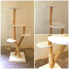 Natural wood scratching post / cat tree large / by TheShiningWood