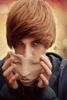 Creative Photo Manipulations by Markoo Marben- This so reminds me of Justin beiber when i first saw this removing his mask. though it would have been really humorous if there was a monster under there...Though its an interesting composition idea the use of color and brightening of his features give this image an interesting ethereal feeling.