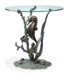 Seahorse End Table Nautical Coastal Ocean Tropical Sea Horse Sculpture #SPIHome #NauticalCoastal