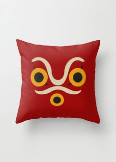 Mononoke Mask Pillow Cover  I could probably make this quite easily
