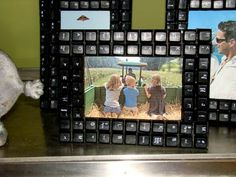 Itsy Bits and Pieces: The Bachman's Fall Ideas House Part One...  frame covered with old keyboard keys