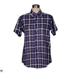 Everyday wearable ladies shirt brings to you Chains Closet Fabrication: Cotton Features: Dark Purple color check stripe fabric with collar, short sleeve. M size Measurement: Bust: inch, Body Length (From Top of Neck): inch Striped Fabrics, Dark Purple, Printed Shirts, Flamingo Inflatable, Health And Beauty, Short Sleeves, Men Casual, Online Marketplace, Clothes For Women