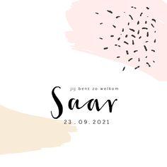 Lief geboortekaartje met roze en gele brush en vrolijke confetti, verkrijgbaar bij #kaartje2go voor €1,99