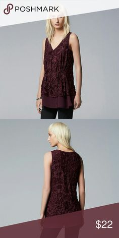 Christmas Holiday Velvet XL V-neck Chiffon Top NWT Will Put in the mail ASAP  New With Tag Lovely Women's XL crinkle velvet tank top from Simply Vera Vera Wang in color Winetasting.  PRODUCT FEATURES Crinkle design Chiffon hem V-neck Sleeveless Soft velvet construction Grosgrain sash Simply Vera Vera Wang Tops