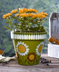 Plaid® Painted Daisy Flowerpot