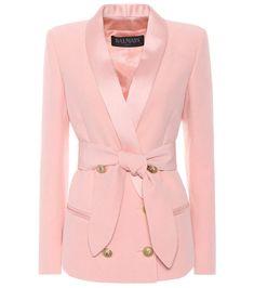 Balmain Double Breasted Satin & Crepe Blazer In Pink Balmain Blazer, Balmain Jacket, Blazer Suit, Blazer Jacket, Moda Club, Fashion Trends 2018, Balmain Clothing, Beauty And Fashion, Double Breasted Jacket