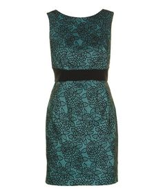 Look what I found on #zulily! Teal Green & Black Lace Overlay Sleeveless Sheath Dress by Darling #zulilyfinds