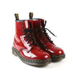 90s Red patent leather Dr. Martens short by MelissaJaneVintage