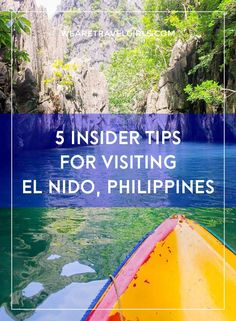 INSIDER TIPS FOR VISITING EL NIDO, PHILIPPINES Do you enjoy forests of palm trees? How about towering limestone cliffs shooting out of emerald water? What about kayaking through hidden coves, and exploring quiet lagoons? If you answered yes to any of these then your next vacation must be to El Nido! By We Are Travel Girls Contributor Kelsey Madison of MilesOfSmiles.com