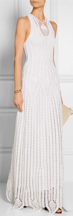 white crochet dress by Rosetta Getty