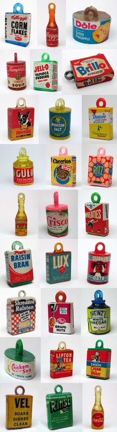 """A revelation to me that supermarket gumball machines once contained miniature consumer packaged goods. These photos from Eureka Gumball Charm Nirvana are only a small sampling of what's out there for collectors of tiny supermarket charms. (Some display cards, after the fold…) On left: """"Play Store Supermarket Charms"""" from LostWackys.com; on right: """"Grocery Store Charms"""" …"""