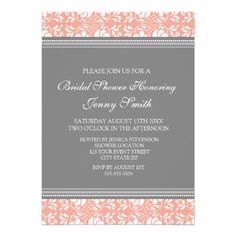 Coral Gray Damask Bridal Shower Invitation Cards