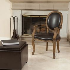 Henbury Brown Leather Weathered Oak Arm Chair
