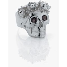 Meadowlark Wreath Skull Ring - Smoky Quartz ($275) ❤ liked on Polyvore featuring jewelry, rings, skull jewelry, smoky quartz ring, smoky quartz jewelry, rose jewelry and rose gold jewelry