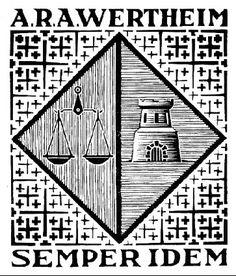 Bookplate A.R.A. Wertheim - M.C. Escher, 1954