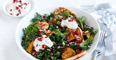 This vegetarian salad with pumpkin, haloumi, kale is covered in zesty yoghurt dressing.