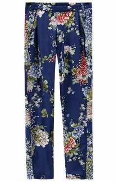 { Blue Elastic Waist Chrysanthemum Print Pant }