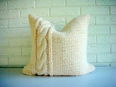 Hand Knit Pillow Cover Decorative Throw Chunky by habitationBoheme
