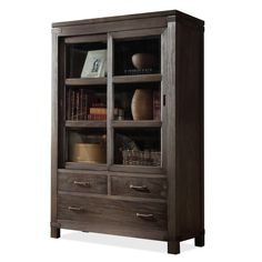Have to admit, I'd probably paint it. - Home Gallery Furniture for Glass Front Bookcases, Sliding Door Bookcase $1170.00  SW 6517 Regatta for exterior, SW 6719 Gecko for interior (both Sherwin Williams) and then brushed chrome or polished silver for the hardware to pull in the metal in the rest of the room.