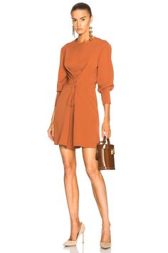 Image 1 of Tibi Lace Up Dress in Rust