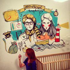 Mural de Paula Bonet para una habitación infantil