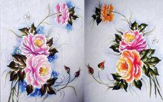 Pintura em Tecido, Riscos, Dicas, Materiais e Passo a Passo: Rosas Pintura em…