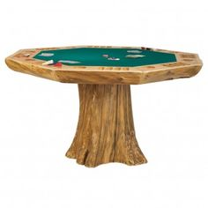 Tree Stump Rustic Poker Table  Rustic Game Room | Cabin Decor