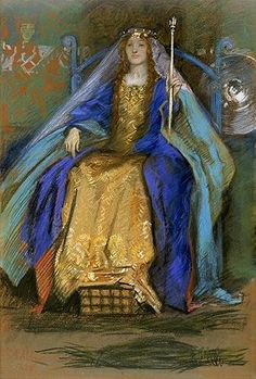 A Celtic Queen, Drawing by Edwin Austin Abbey (1852-1911, United States)