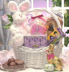 "Surely you can think of ""Somebunny"" special to send this special Easter basket. This white wicker basket includes an adorable 10"" chenille Easter bunny ""hoppy"" to deliver this large assortment of delicious gourmet candies and mouthwatering treats.  $59.99 To view this basket in my store visit: http://shop.o2o.com/item.php?LBB-KCI466P3a-23598 #Easter #Baskets #Gifts"