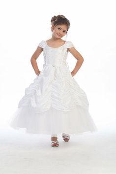 White Taffeta Embroidered Cinderella Dress